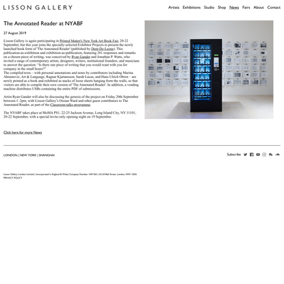The Annotated Reader at NYABF | News | Lisson Gallery