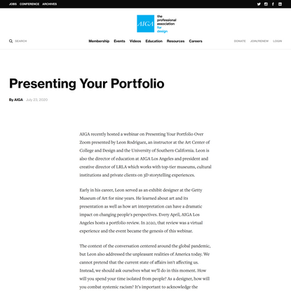 Presenting Your Portfolio
