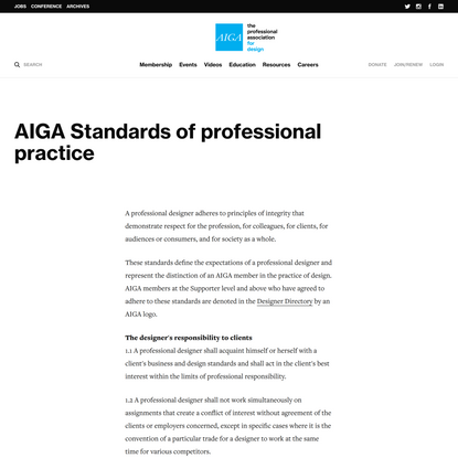 AIGA Standards of professional practice