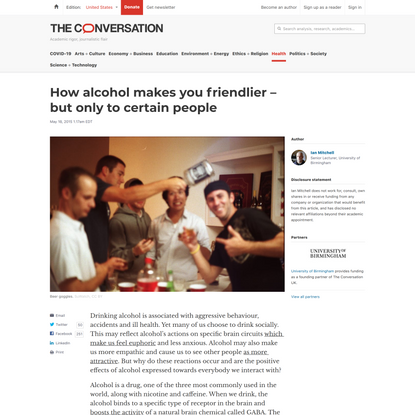 How alcohol makes you friendlier – but only to certain people