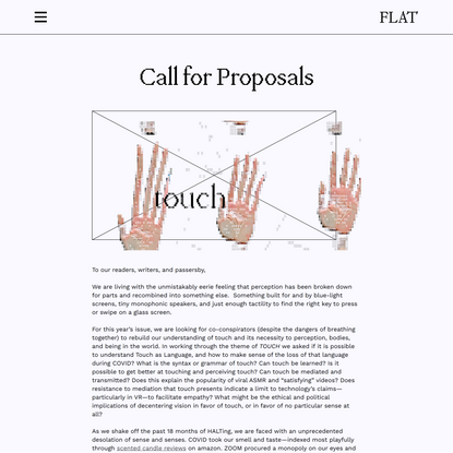 Touch - Call for Proposals - Flat Journal