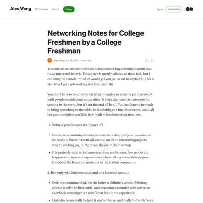 Networking Notes for College Freshmen by a College Freshman