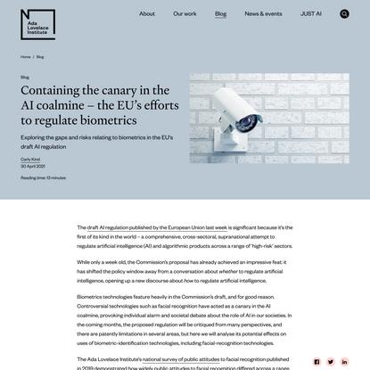 Containing the canary in the AI coalmine – the EU's efforts to regulate biometrics