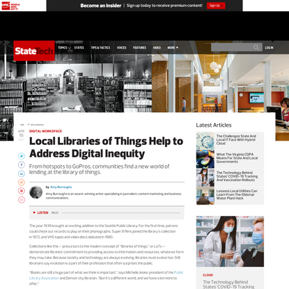 Local Libraries of Things Help to Address Digital Inequity