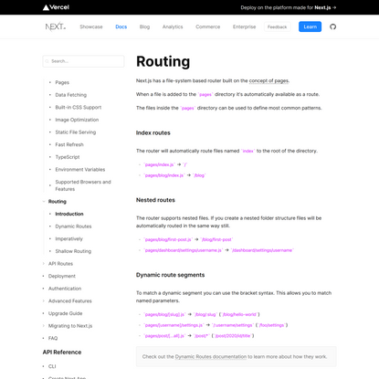 Routing: Introduction   Next.js