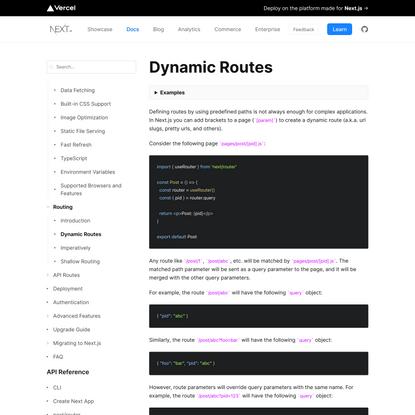Routing: Dynamic Routes   Next.js