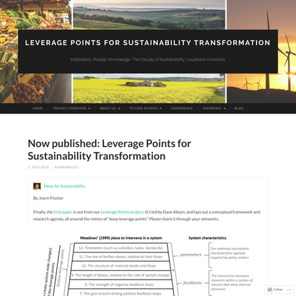 Now published: Leverage Points for Sustainability Transformation