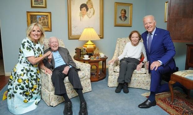 US president Joe Biden and his wife Jill visit Jimmy Carter and wife Rosalynn. Photograph: The Carter Centre
