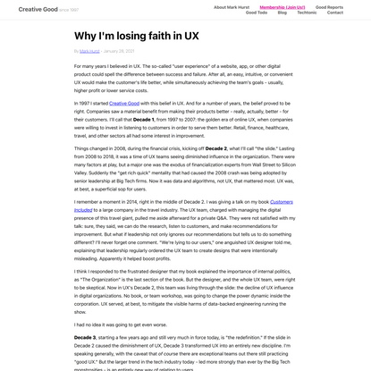 Why I'm losing faith in UX