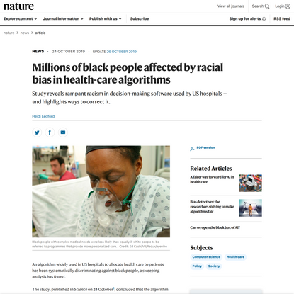 Millions of black people affected by racial bias in health-care algorithms