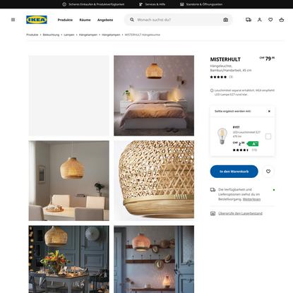 MISTERHULT Hängeleuchte, Bambus/Handarbeit, 45 cm - IKEA Schweiz