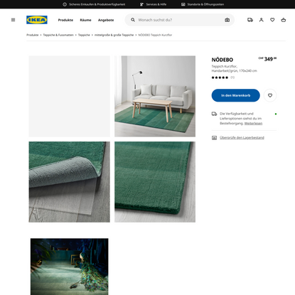 NÖDEBO Teppich Kurzflor, Handarbeit/grün, 170x240 cm - IKEA Schweiz