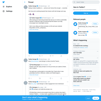 """Twitter Design on Twitter: """"Making Twitter healthier is - and we can't stress this enough - essential. See how we're working..."""