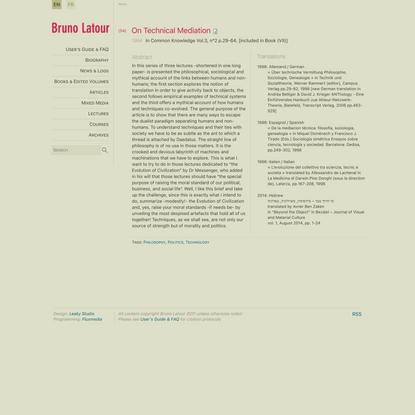 On Technical Mediation   bruno-latour.fr