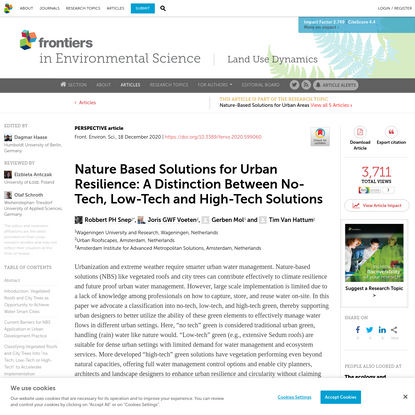 Nature Based Solutions for Urban Resilience: A Distinction Between No-Tech, Low-Tech and High-Tech Solutions
