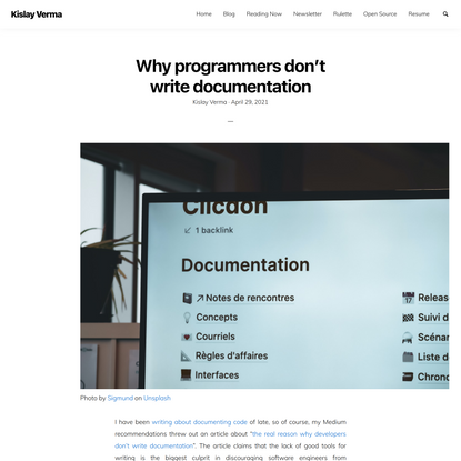 Why programmers don't write documentation   Kislay Verma