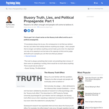 Illusory Truth, Lies, and Political Propaganda: Part 1