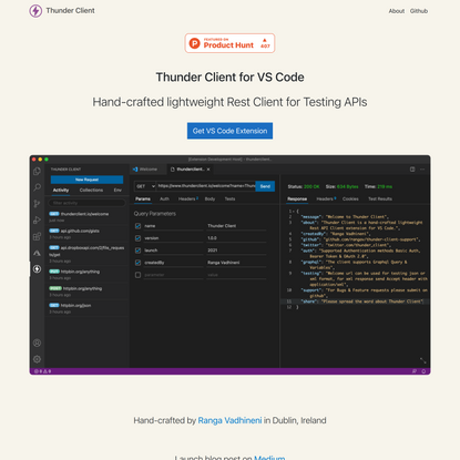 Thunder Client - Http Client Extension for VS Code
