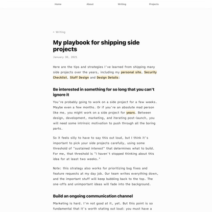 My playbook for shipping side projects