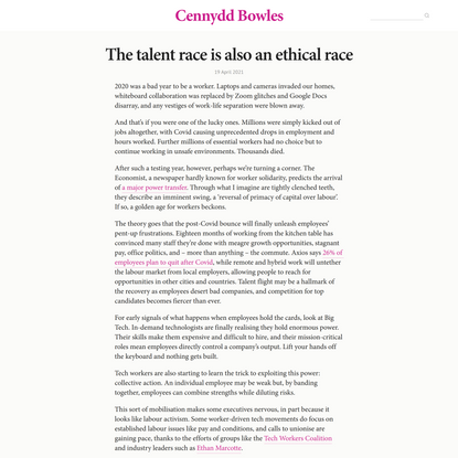 The talent race is also an ethical race // Cennydd Bowles