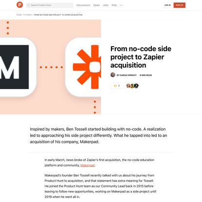 From no-code side project to Zapier acquisition | Product Hunt