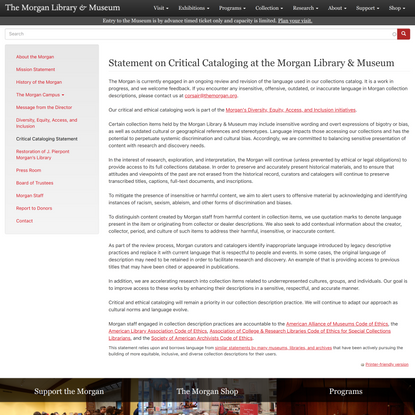 Statement on Critical Cataloging at the Morgan Library & Museum