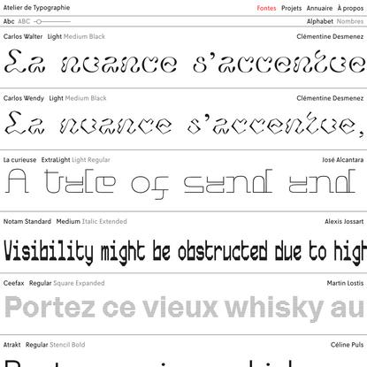 Atelier de Typographie | Fontes
