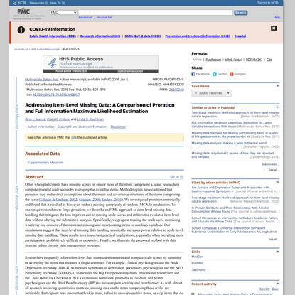 Addressing Item-Level Missing Data: A Comparison of Proration and Full Information Maximum Likelihood Estimation