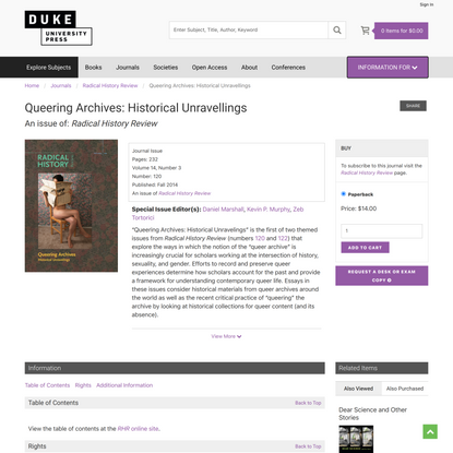 Duke University Press - Queering Archives: Historical Unravellings