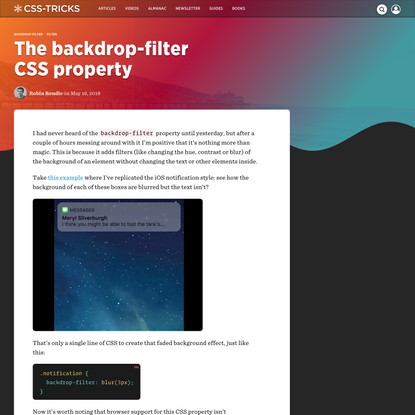 The backdrop-filter CSS property | CSS-Tricks