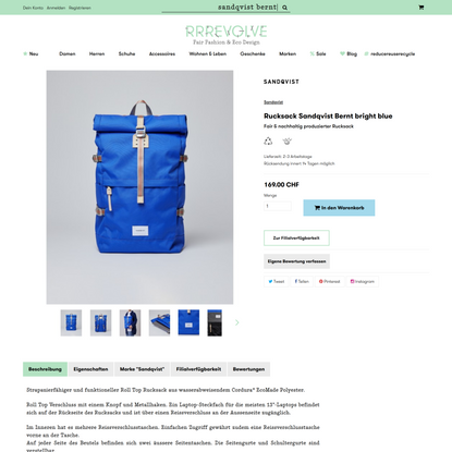 Rucksack Sandqvist Bernt bright blue | RRREVOLVE