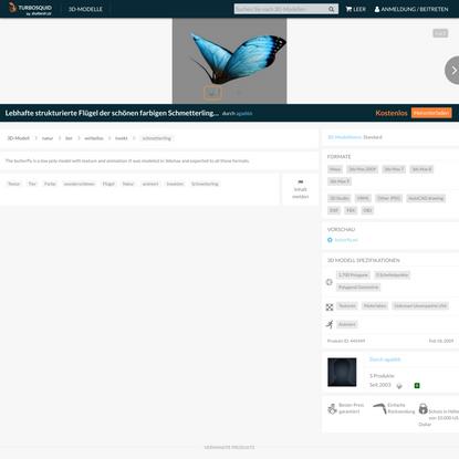 kostenlos Lebhafte strukturierte Flügel der schönen farbigen Schmetterlingsinsektennatur 3D-Modell - TurboSquid 445449