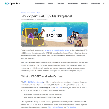 Now open: ERC1155 Marketplace! - OpenSea blog