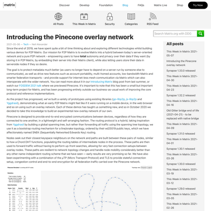 Introducing the Pinecone overlay network | Matrix.org