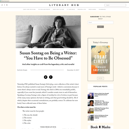 """Susan Sontag on Being a Writer: """"You Have to Be Obsessed"""""""