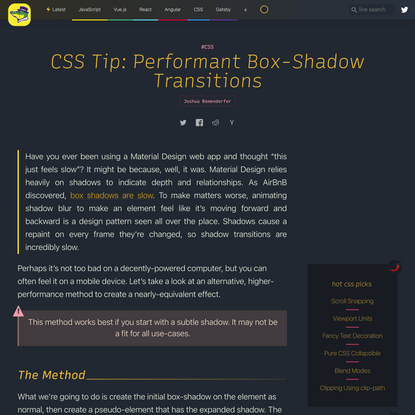 CSS Tip: Performant Box-Shadow Transitions