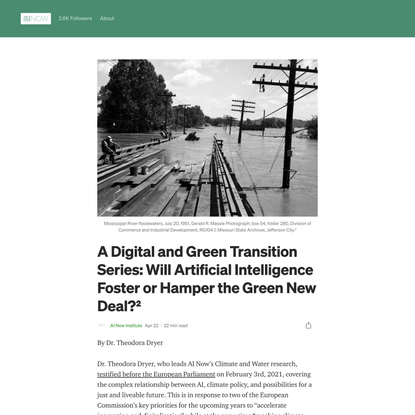 A Digital and Green Transition Series: Will Artificial Intelligence Foster or Hamper the Green New…