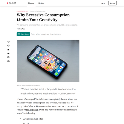 Why Excessive Consumption Limits Your Creativity