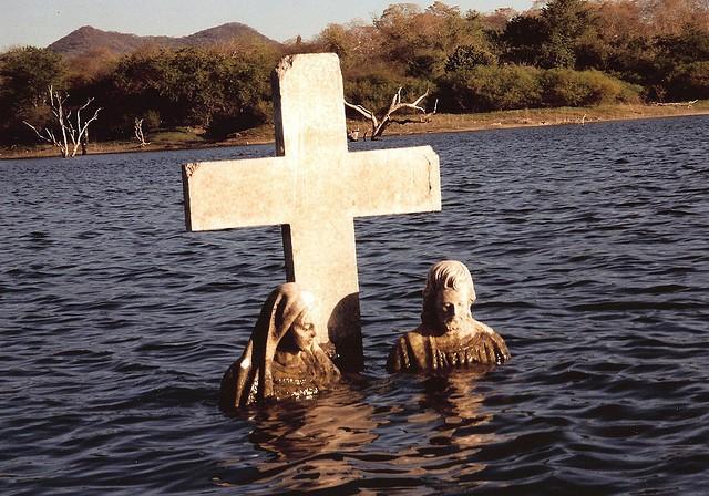 Underwater tombstone at El Salto Lake, Mexico