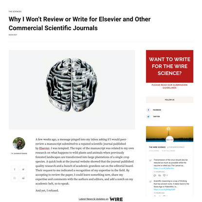 Why I Won't Review or Write for Elsevier and Other Commercial Scientific Journals - The Wire Science