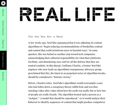 The Sea Was Not a Mask — Real Life