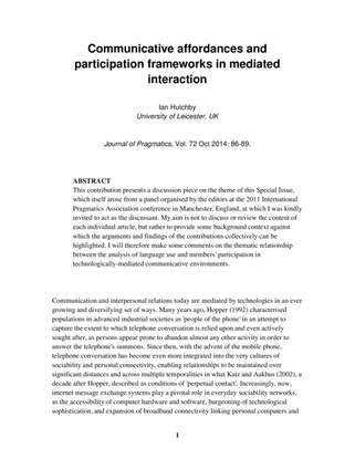 Hutchby- Communicative affordances and participation frameworks in mediated interaction