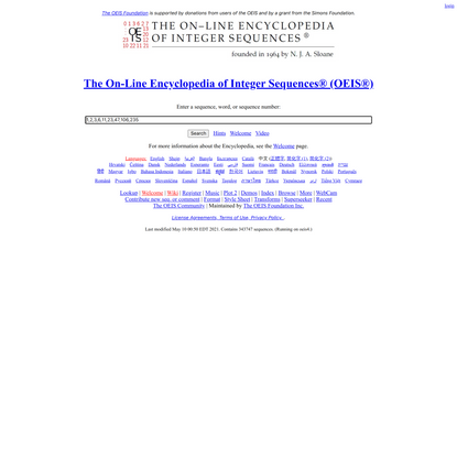 The On-Line Encyclopedia of Integer Sequences® (OEIS®)