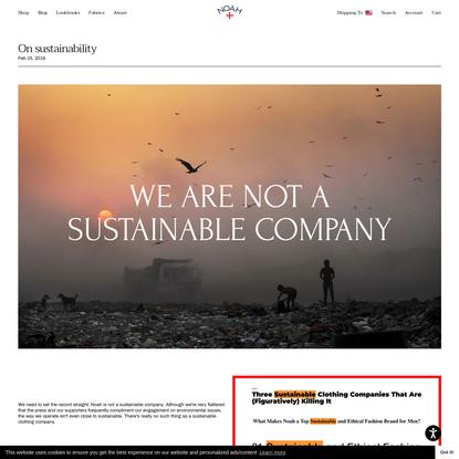 Noah - On sustainability