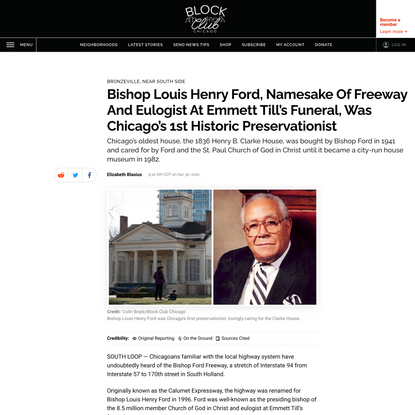 Bishop Louis Henry Ford, Namesake Of Freeway And Eulogist At Emmett Till's Funeral, Was Chicago's 1st Historic Preservationist