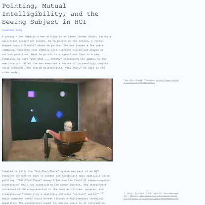 Pointing, Mutual Intelligibility, and the Seeing Subject in HCI