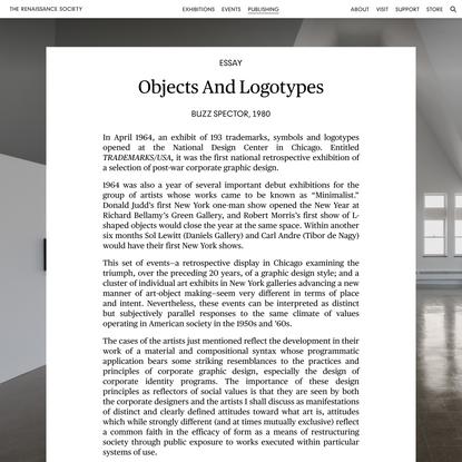 Objects and Logotypes   Publishing: Essay   The Renaissance Society