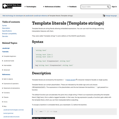 Template literals (Template strings) - JavaScript | MDN
