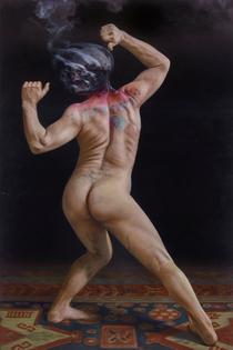 "Christian Van Minnen — Icarus: White King, 2016, 48x72""  Triptych, Oil on Linen"