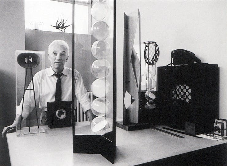 Bruno Munari, in his studio with programmed artworks, Milan, c.1962